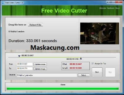 Memotong video di video cutter.com